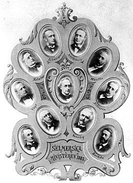 Ministeriet (regjeringen) Selmer i 1883. Regjeringen ble dømt av riksretten i 1884.