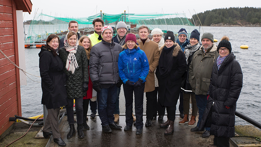 Participants in the Nordic-Baltic meeting for foreign affairs committee chairs at the research station at Austevoll, accompanied by representatives of Norway's Institute of Marine Research. Photo: Kjartan Mæstad, Institute of Marine Research.