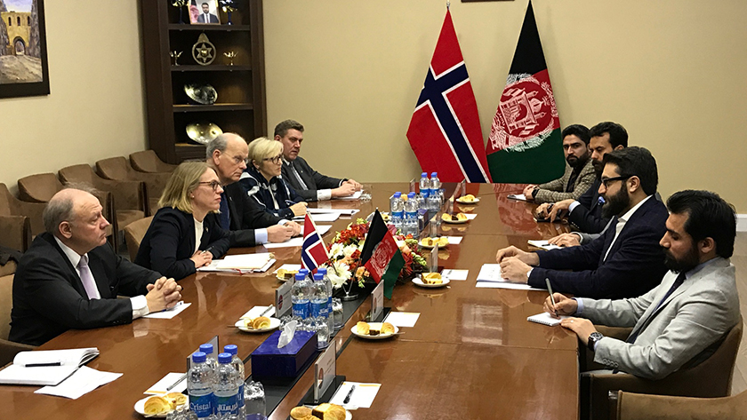 The committee delegation meeting with Afghanistan's National Security Adviser, Hamdullah Mohib. Photo: Storting.