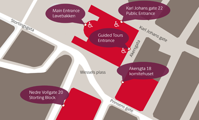 Map of the Storting buildings and entrances.