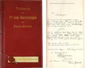 4fbe6216 Adresse til Stortinget fra Landskvinde-stemmeretsforeningen datert 13.  august 1905. «Tilslutning til