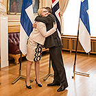 The Finnish speaker, Maria Lohela and her Norwegian  colleague, speaker Olemic Thommessen. Photo: The Storting.
