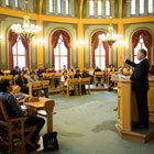On Wednesday 9 November, the Storting held its first-ever course in Norwegian parliamentary democracy tailored especially to teachers active in adult education for immigrants. Photo: Storting.