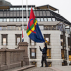 The Sami flag is raised in front of the Storting. Photo: The Storting.