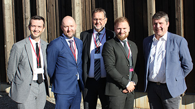 The Norwegian delegation to the conference. From the left: Kent Gudmundsen (Conservative Party), Eirik Sivertsen (Labour Party), Svein Harberg (Conservative Party), Willfred Nordlund (Centre Party) and Bengt Rune Strifeldt (Progress Party). Photo: Storting.