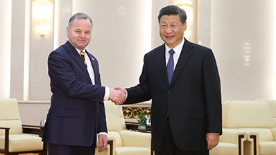Storting President Olemic Thommessen and Chinese President Xi Jinping. Photo: National People's Congress/Bi Nan.