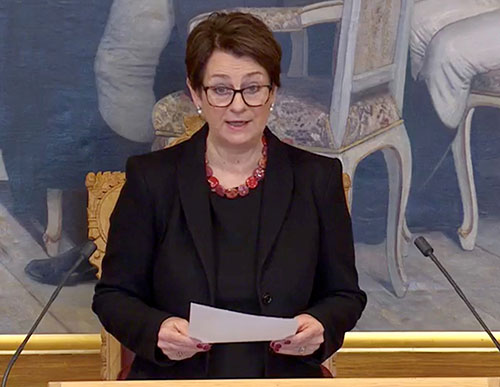 Tone W. Trøen, President of the Storting, during the sitting of 16th March. Photo: Storting.