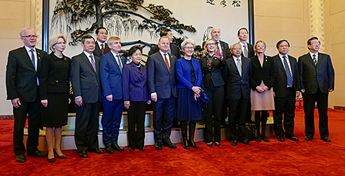 The head of the Foreign Affairs Committee in the National People's Congress, Fu Ying, led the meeting with the Nordic and Baltic parliamentary presidents at the congress. Other committee leaders also participated. Photo: Storting.
