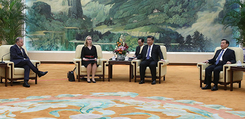 Presidents of the Nordic and Baltic parliaments in conversation with President Xi Jinping. Photo: National People's Congress/Bi Nan.