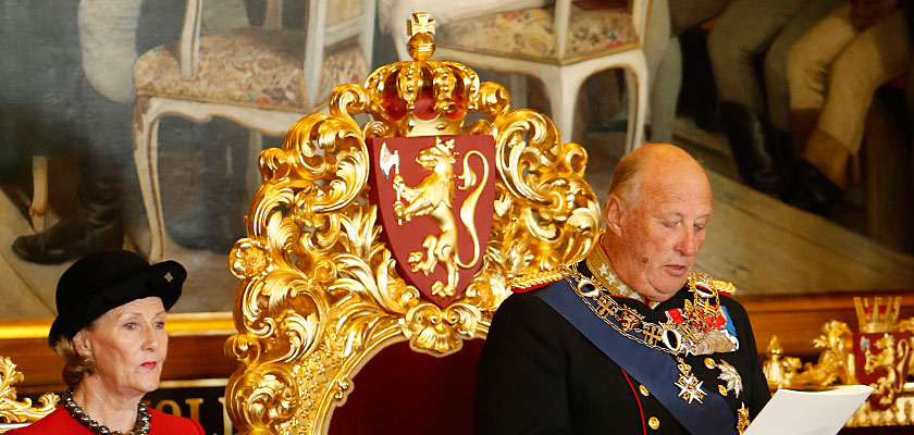 H. M. Queen Sonja and H. M. King Harald V during the State Opening of the Storting in 2014. Photo: Sverre Chr. Jarild / Stortinget